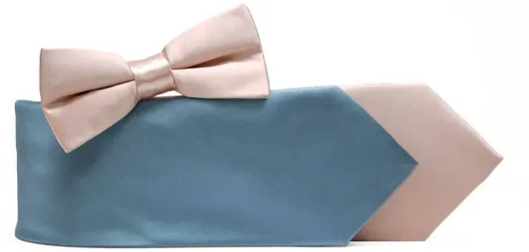 Dusty blue and blush pink neckties and bow ties