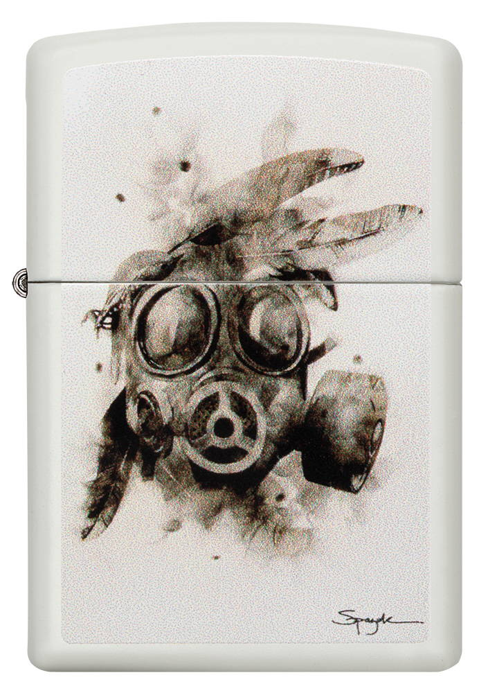 Lighter with a gas mask artwork.