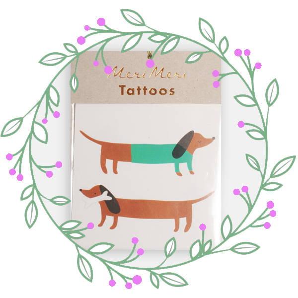 Meri Meri Sausage Dog Tattoos