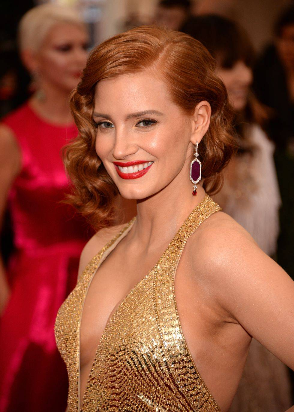 Jessica Chastain with curly hair