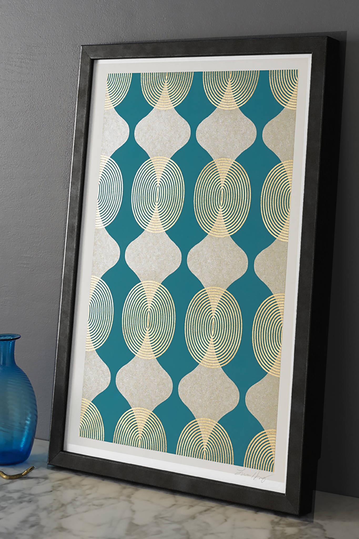 HOURGLASS BEADS TURQUOISE - FRAMED $ 930