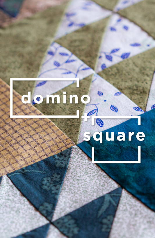 Domino + Square title overlaid on an closeup photo of a colorful geometric quilt