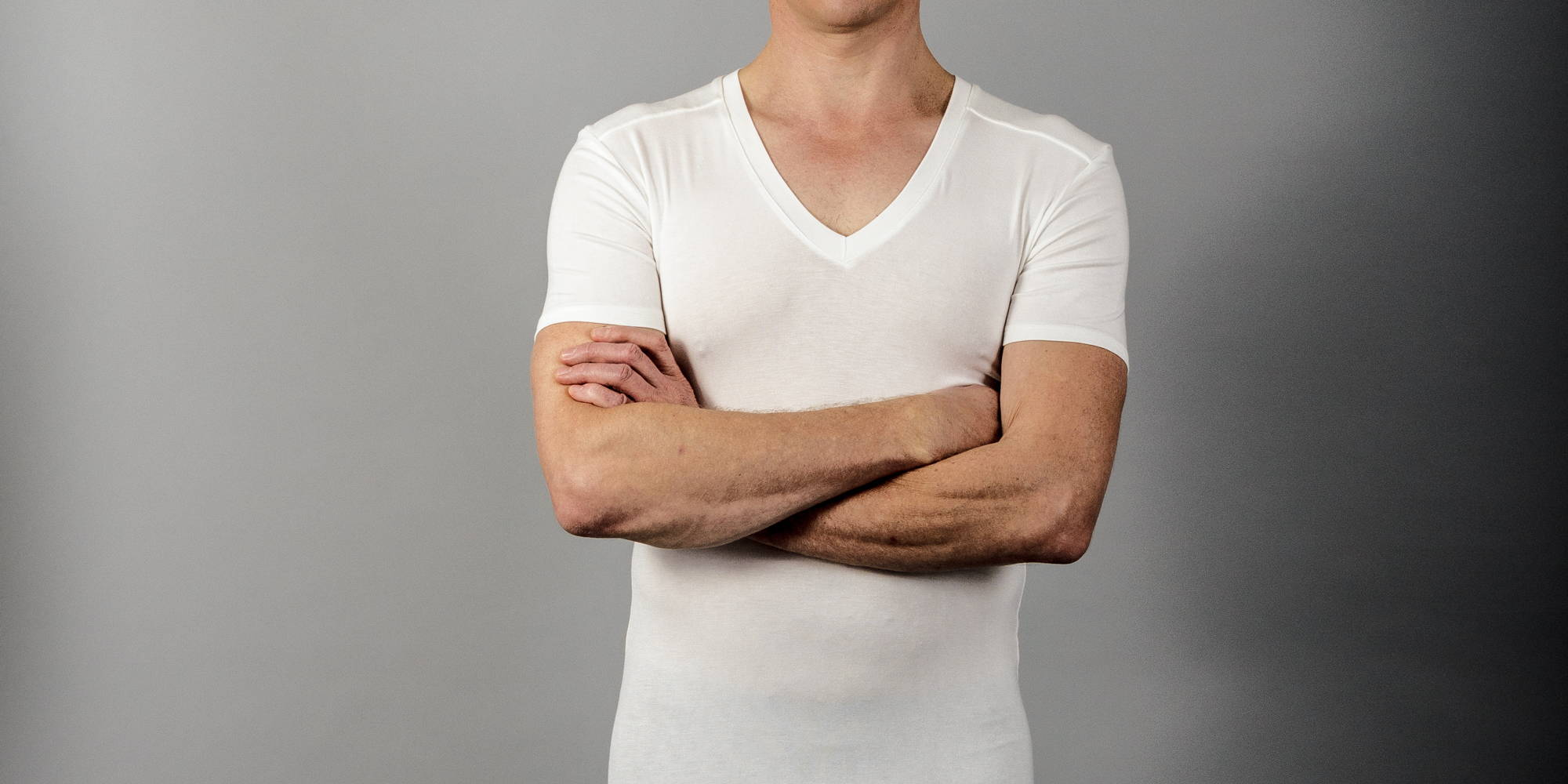 A picture of a Chester V neck undershirt in bamboo in white