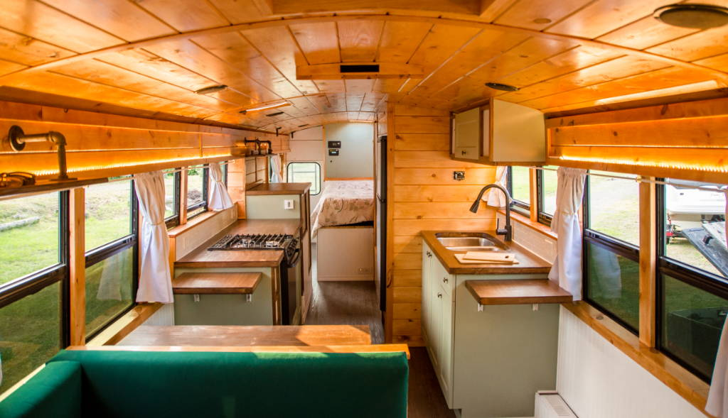 Green School Bus Converted Into Cabin On Wheels