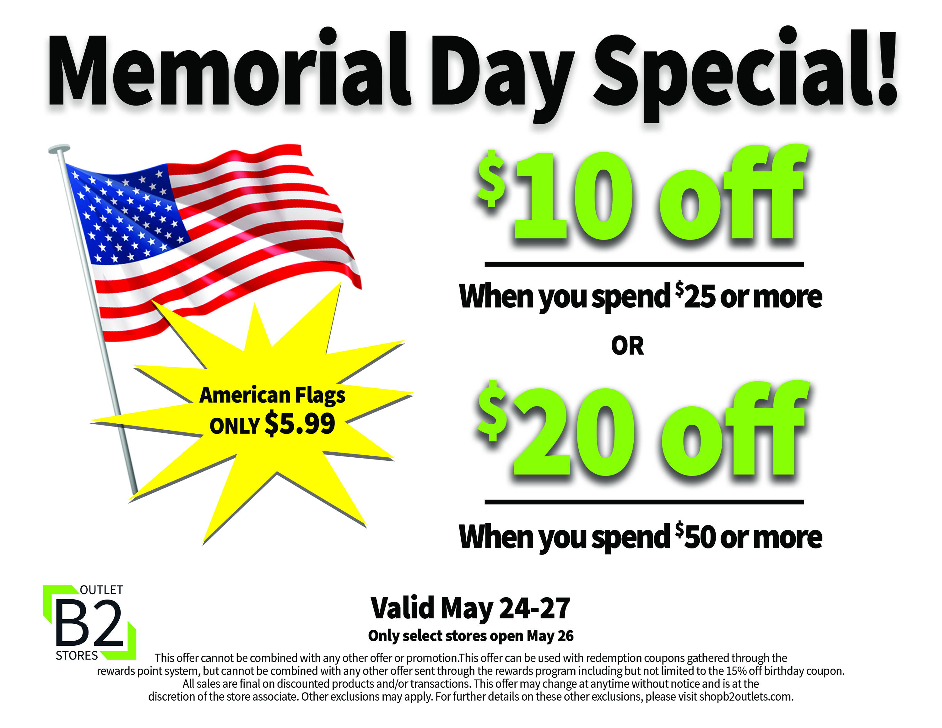 Memorial day sale graphic flag with $10 off and $20 off