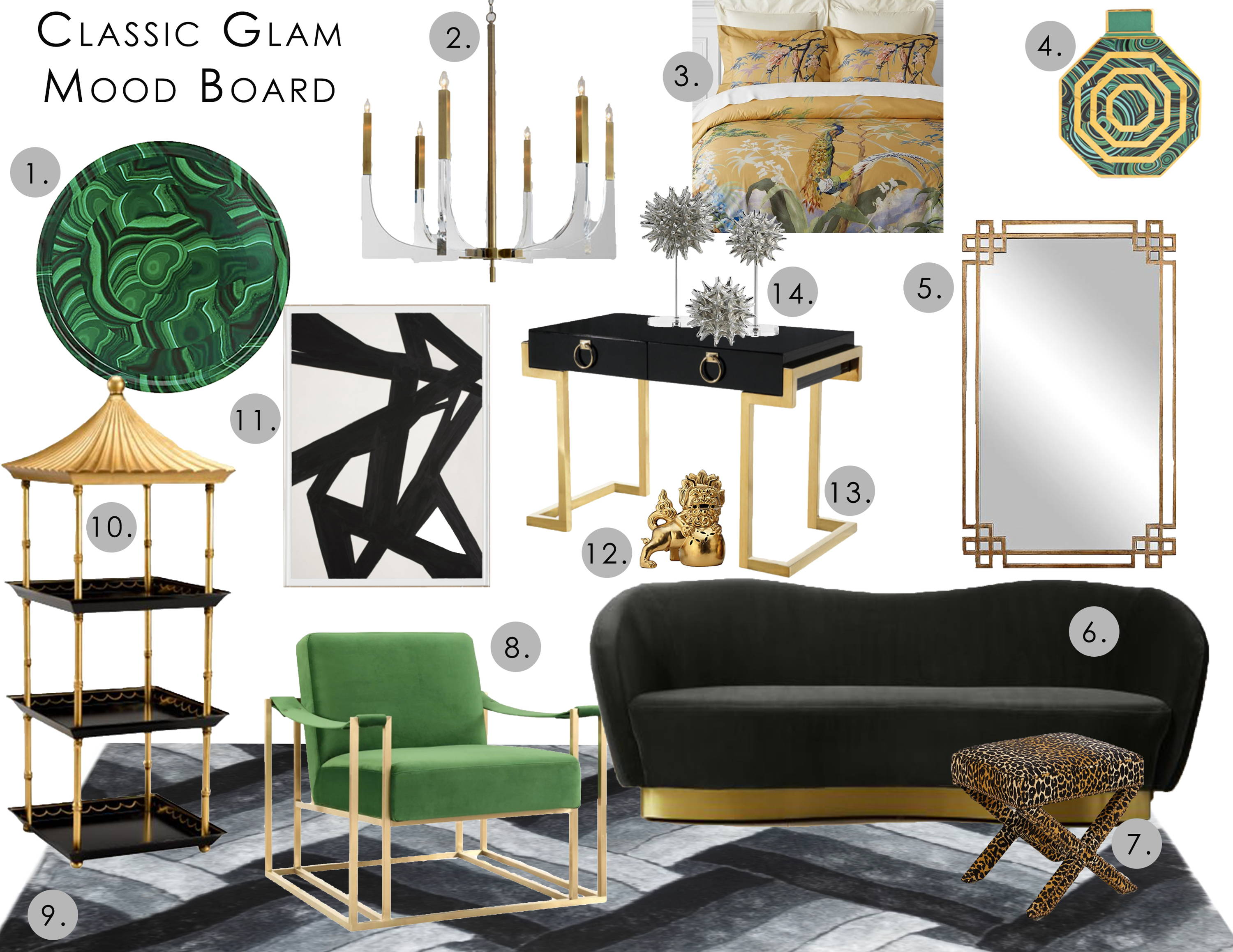 interior design digital mood board featuring furniture and home decor in the classic glam style