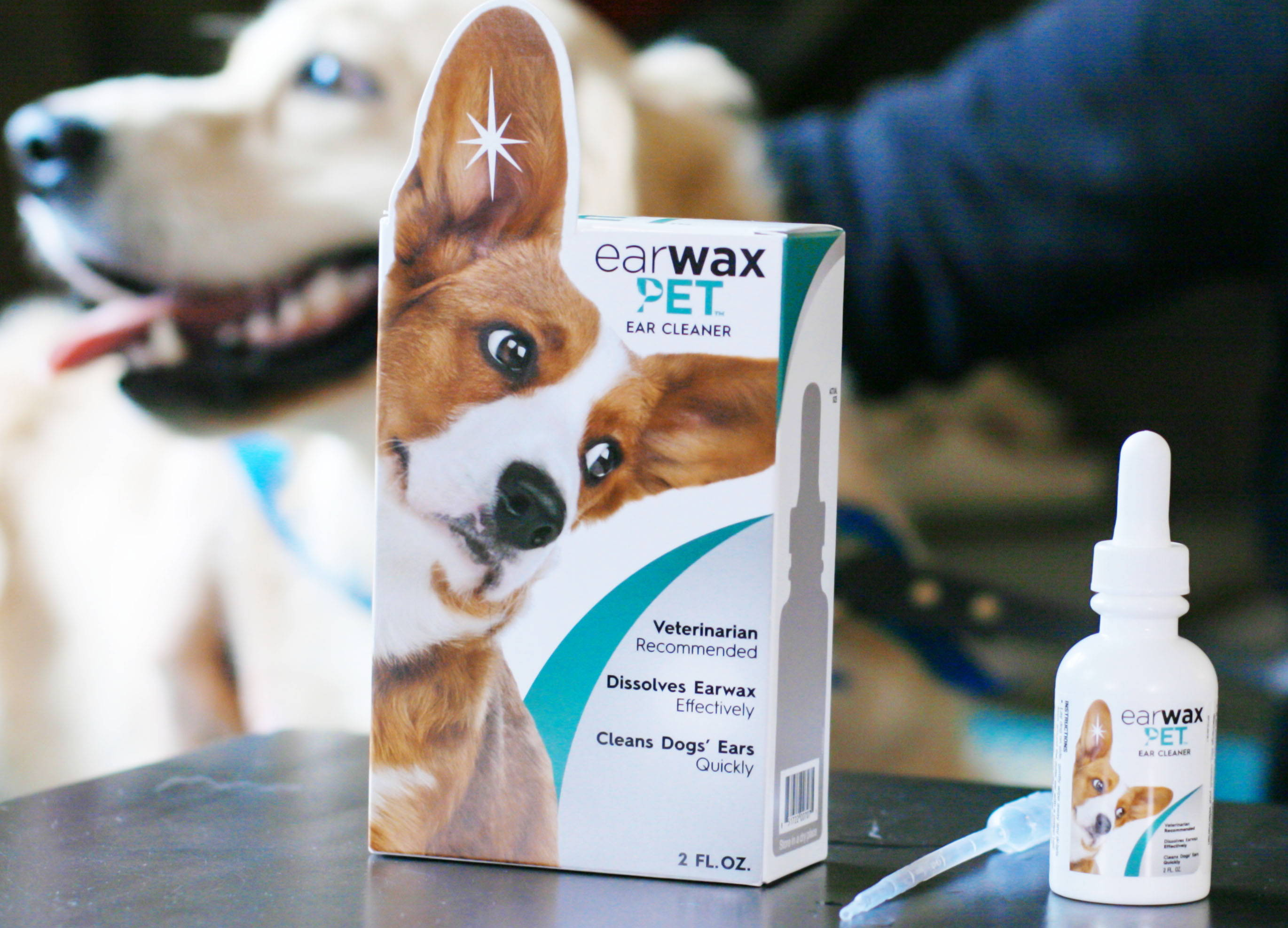 EARWAX PET Product with Dog in Background