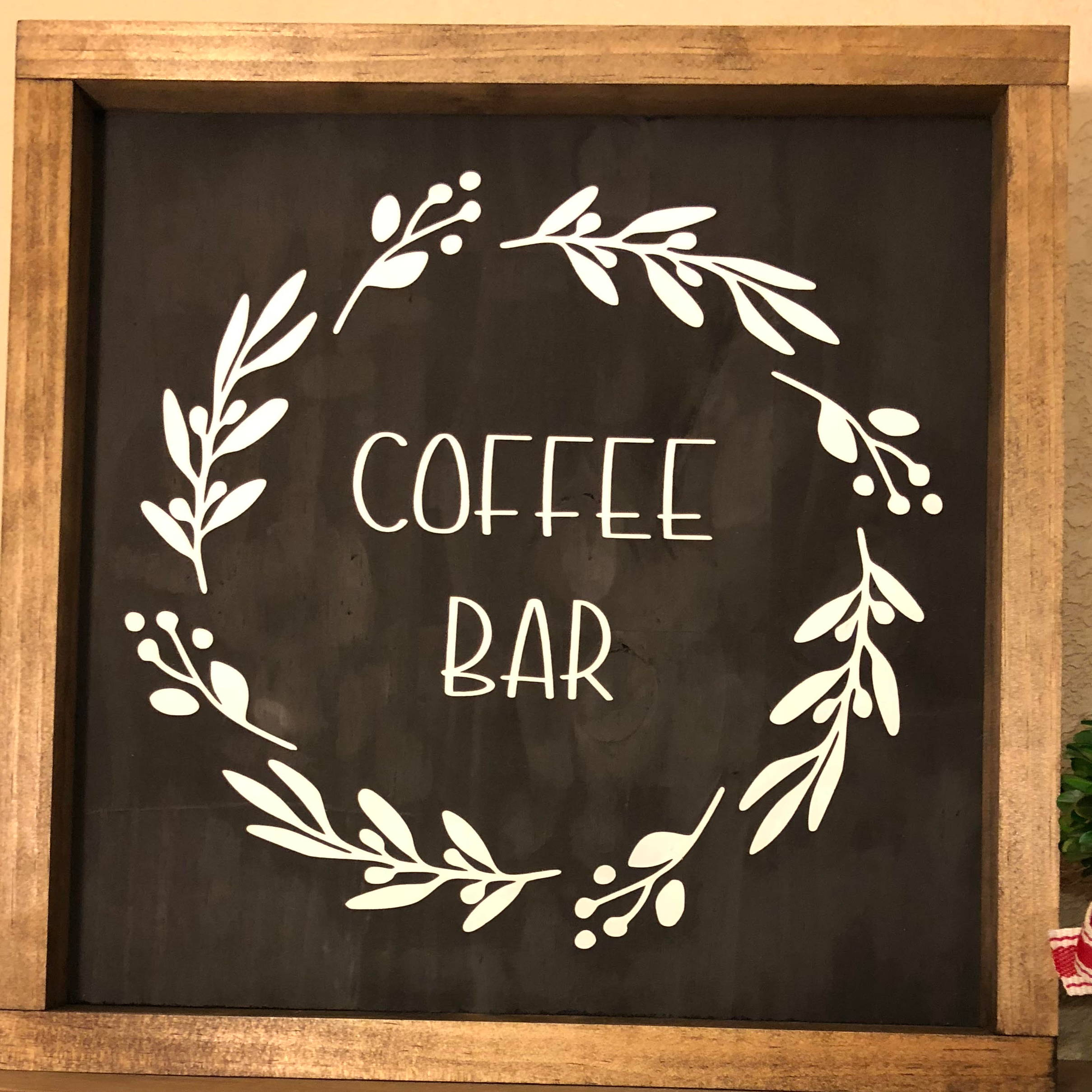 Handmade wooden frame sign with the text
