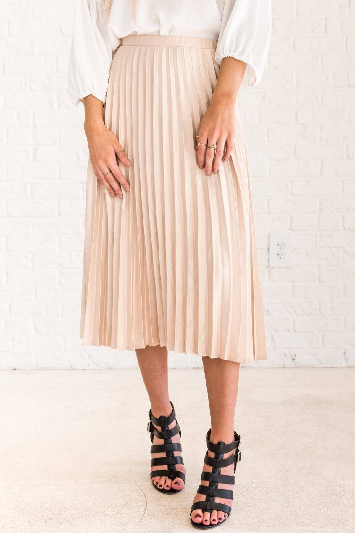 Cream Cute Pleated Midi Skirt with Zipper Back Business Casual for Women