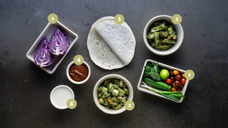 Opskrifter og vejledning til Burrito med kylling, myntesalat, tomatsalsa og lime crema