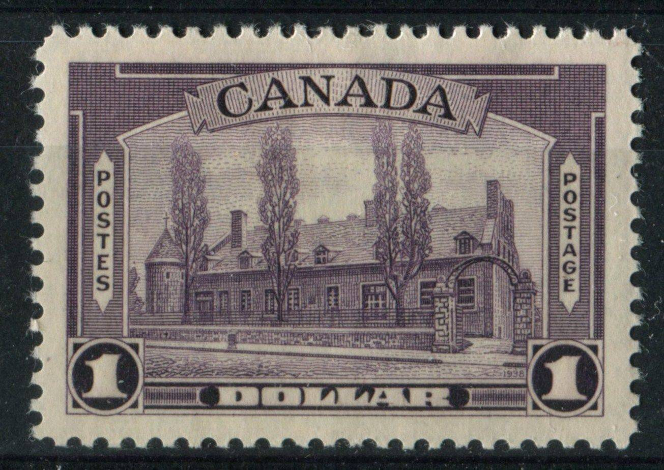 The $1 violet Chateau de Ramesay stamp from the 1938-1942 Mufti Issue of Canada