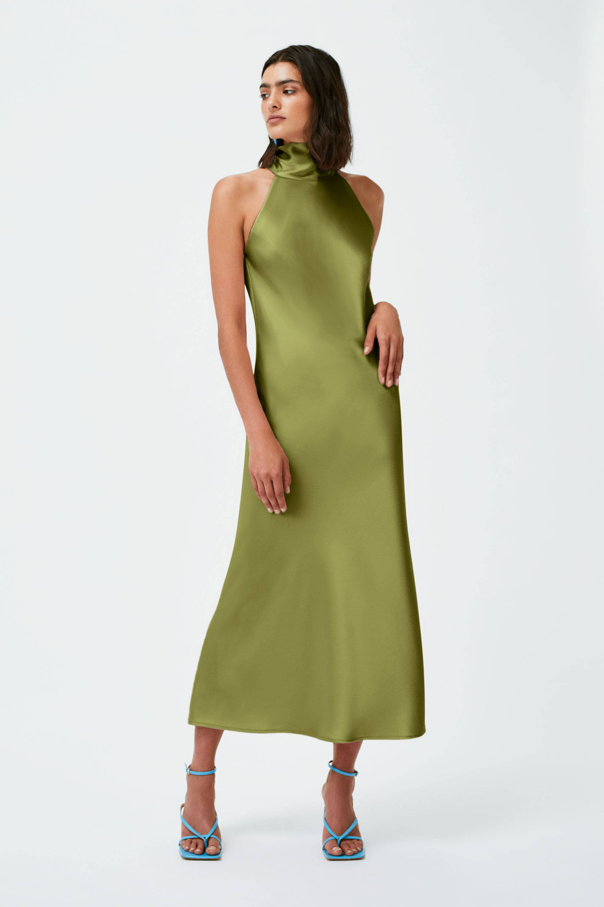 Galvan London High Neck Cropped Midi Khaki Green Dress