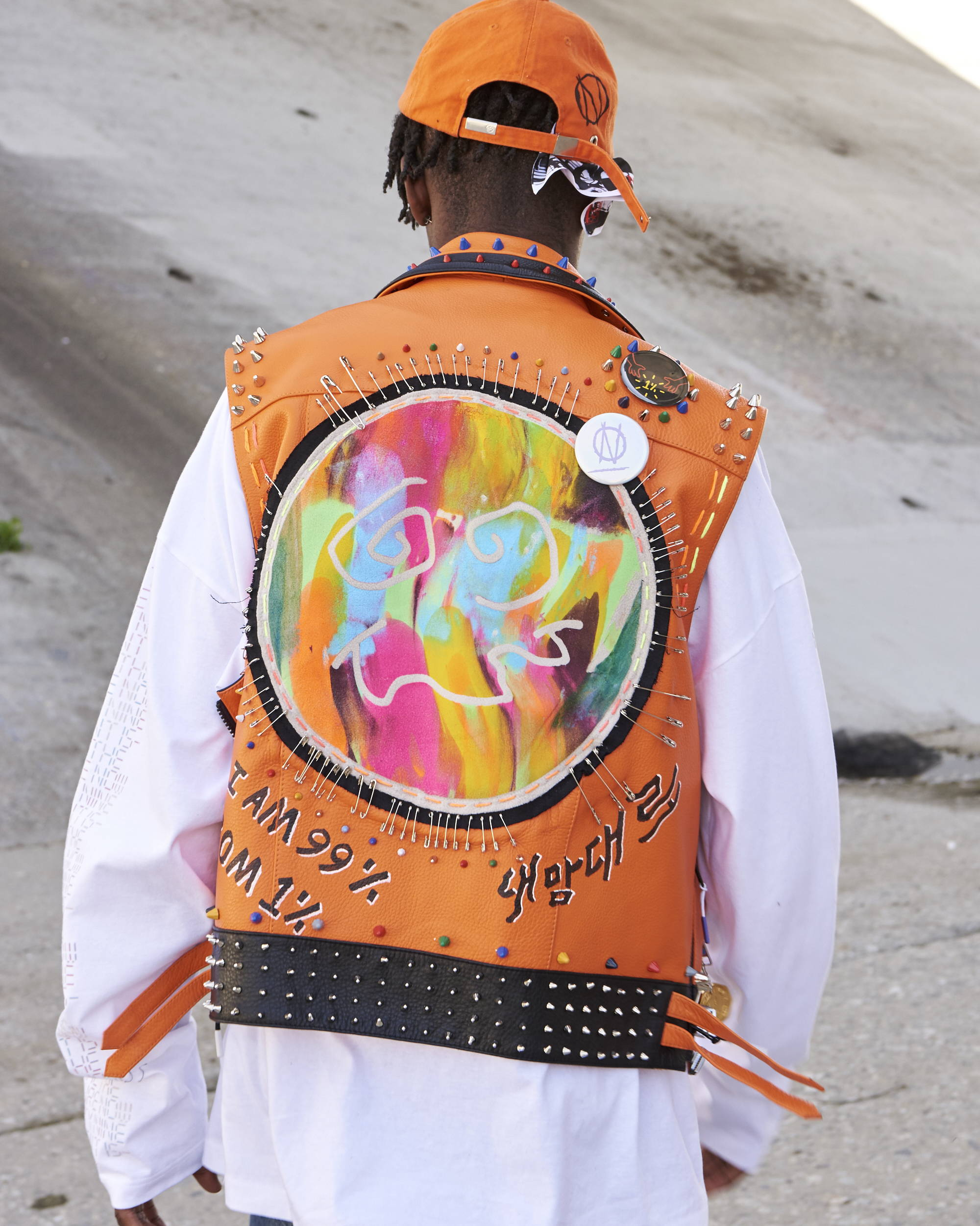 99%IS Painted Leather Vest - Hlorenzo