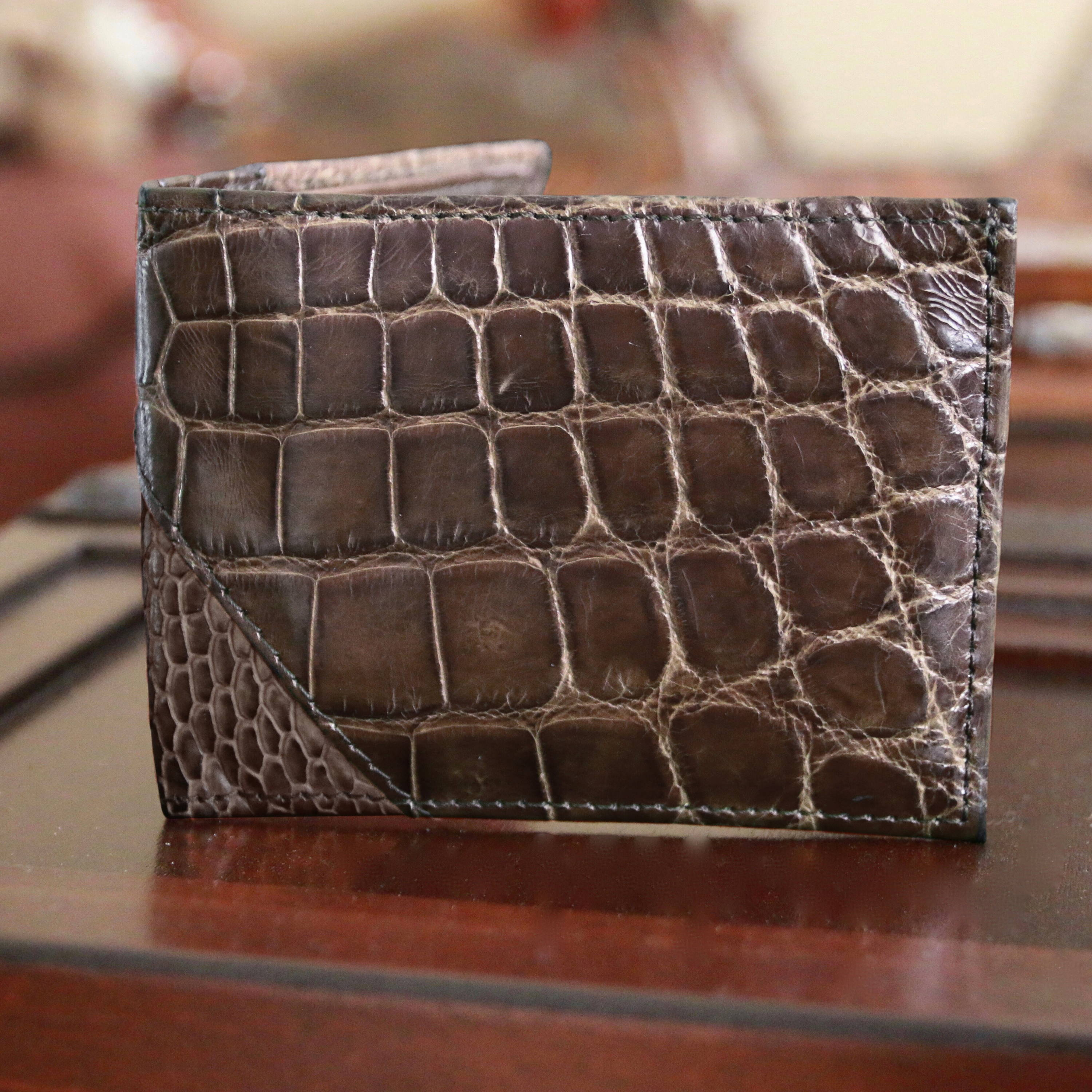 exotic alligator wallet for men rfid blocking