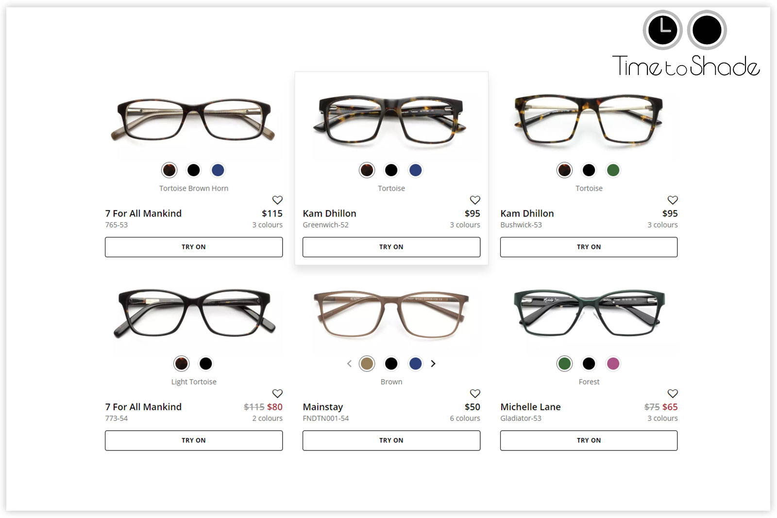 Buy Eyeglasses Online from Time to Shade