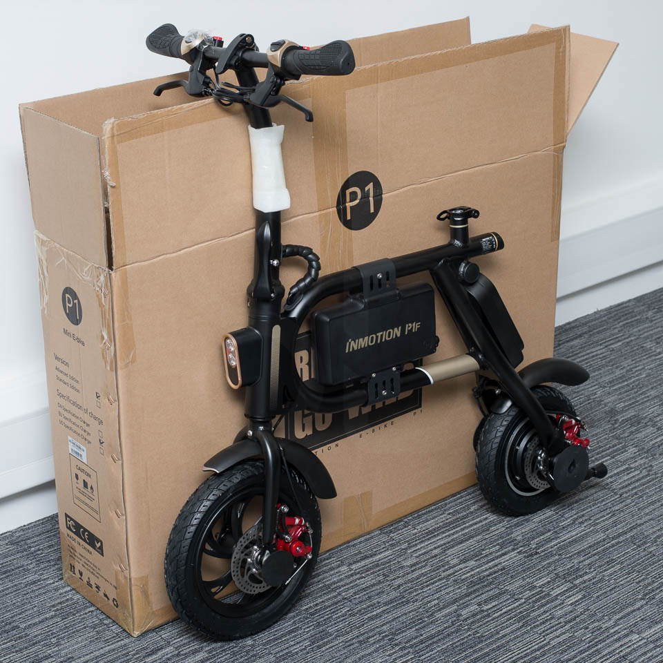 InMotion P1F hybrid scooter ebike unboxing unfolded