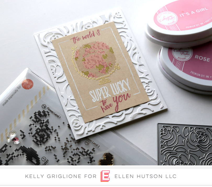 Stitched Together floral globe card by Kelly Griglione