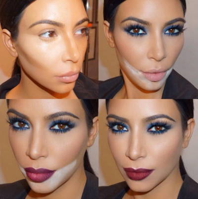 Four photos of Kim Kardashian showing her without any makeup and in different stages of the baking process