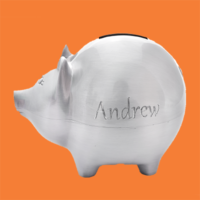 A personalized pewter piggy bank
