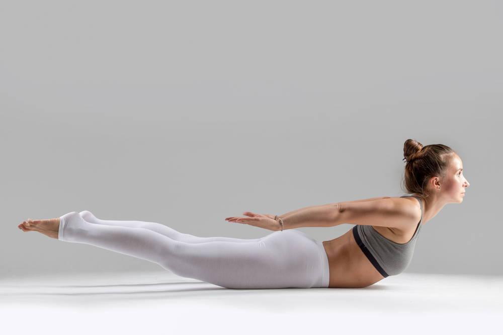 yoga locust pose strengthen core flat tummy