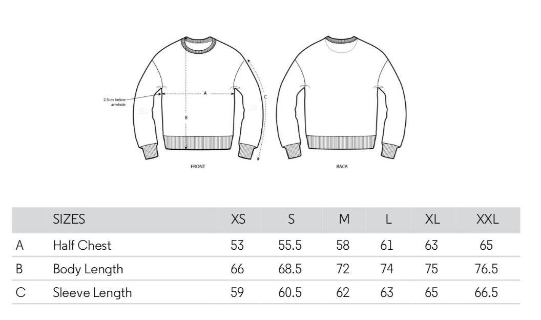Size Chart Pullover Clifton Crew