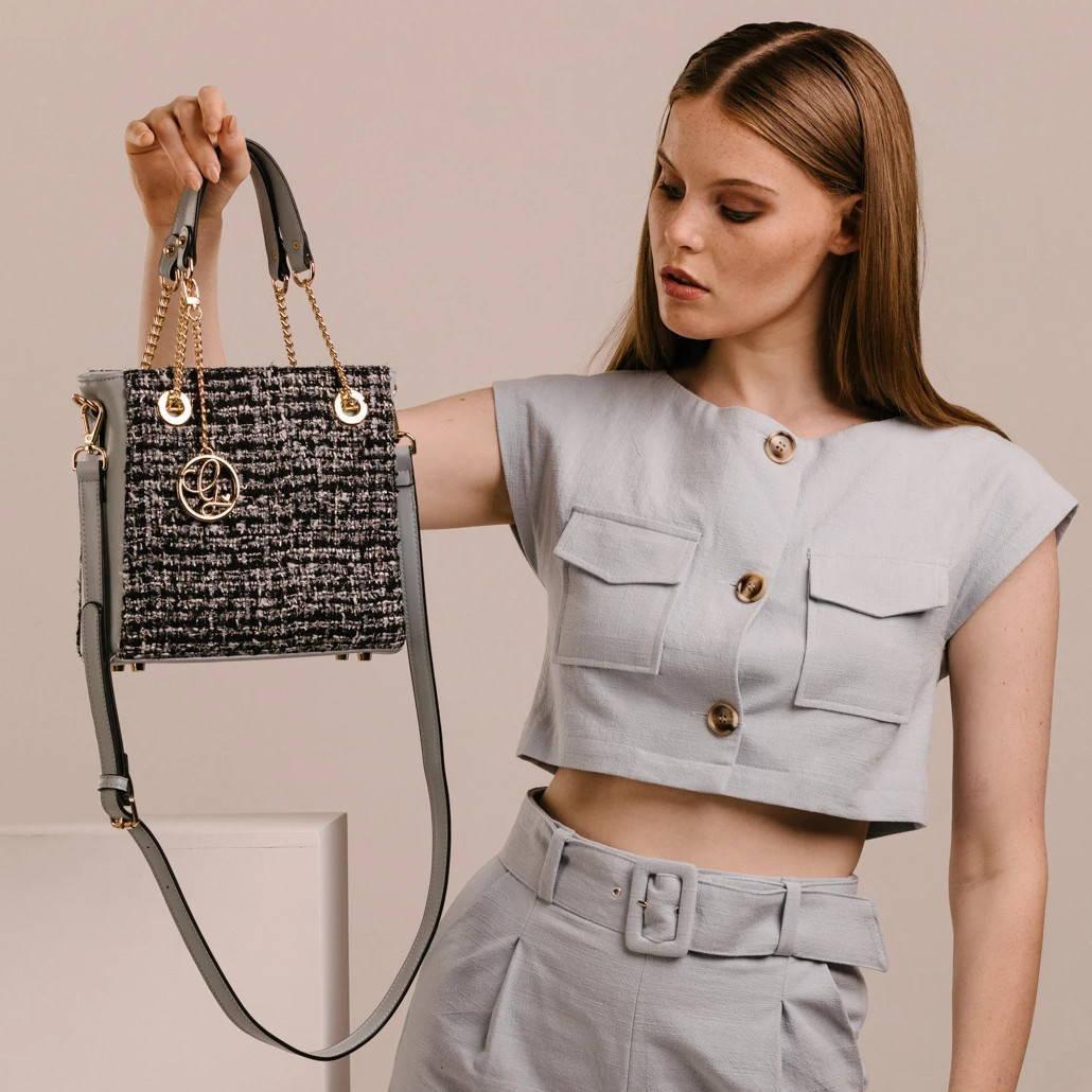 tweed handbag vegan model blue ethical clothing