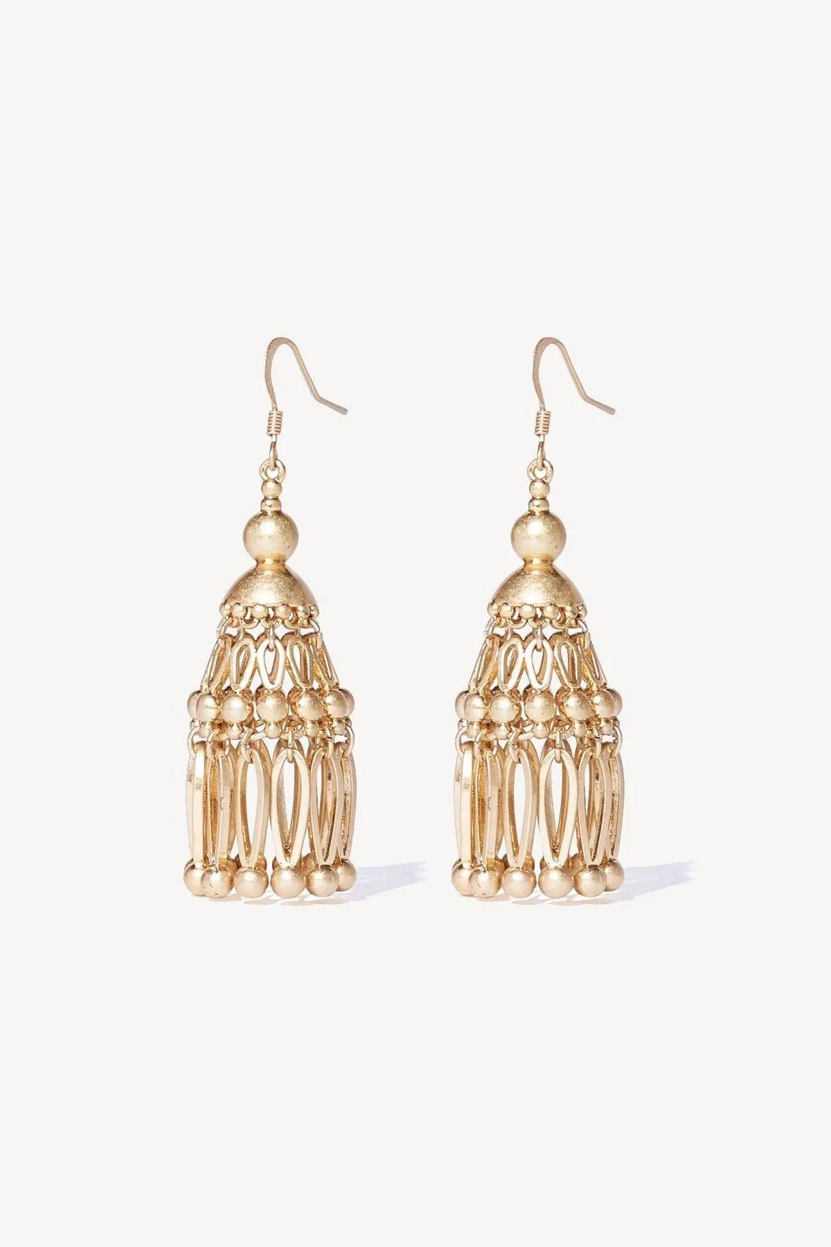 Tigerlily Womens Ishtar Tassel Earring - Gold