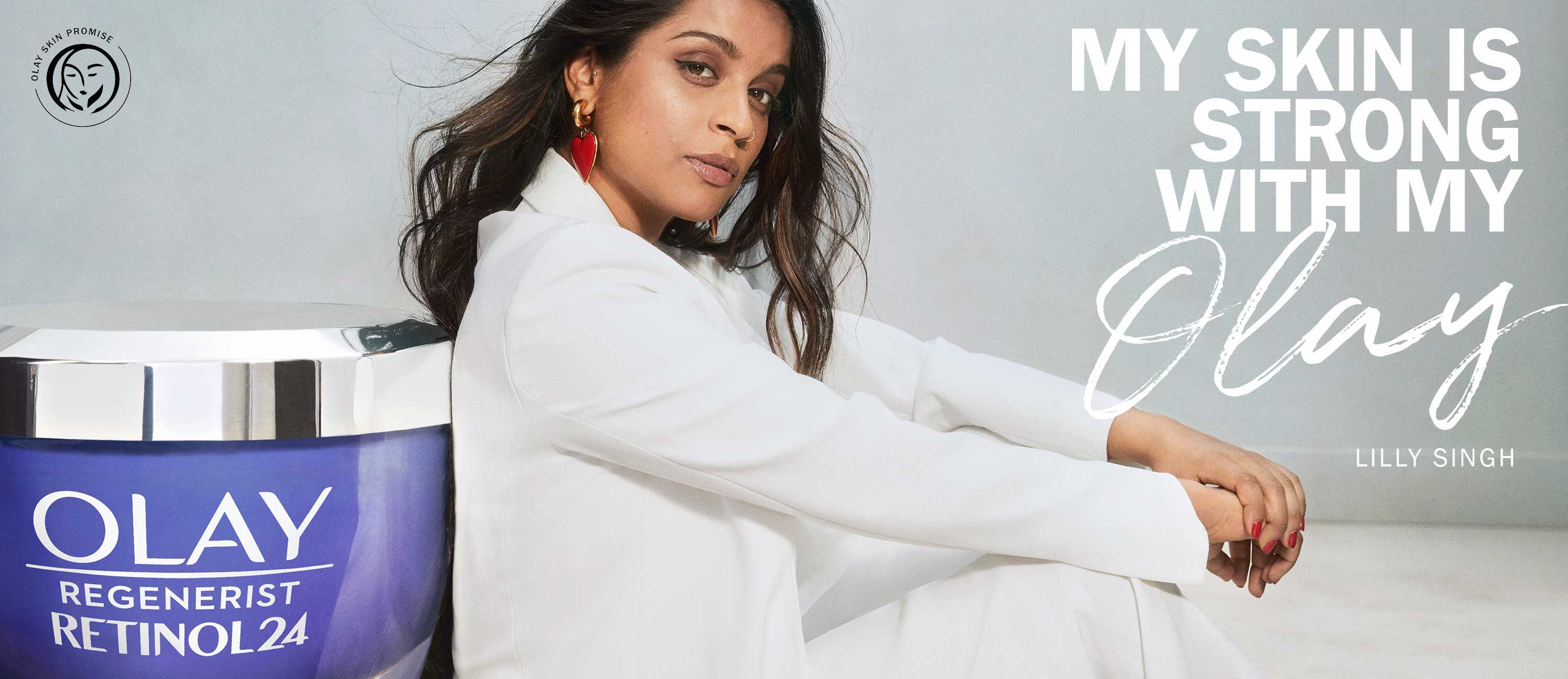 Homepage banner- Lilly Sing m Skins is Strong with my Olay campaing banner