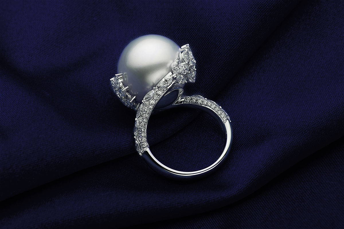 Laurel South Sea Pearl Ring On Blue Cloth