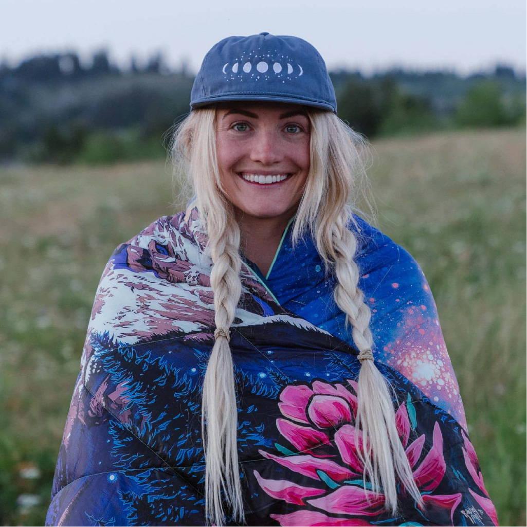 Rachel Pohl artists wrapped in Rumpl blanket