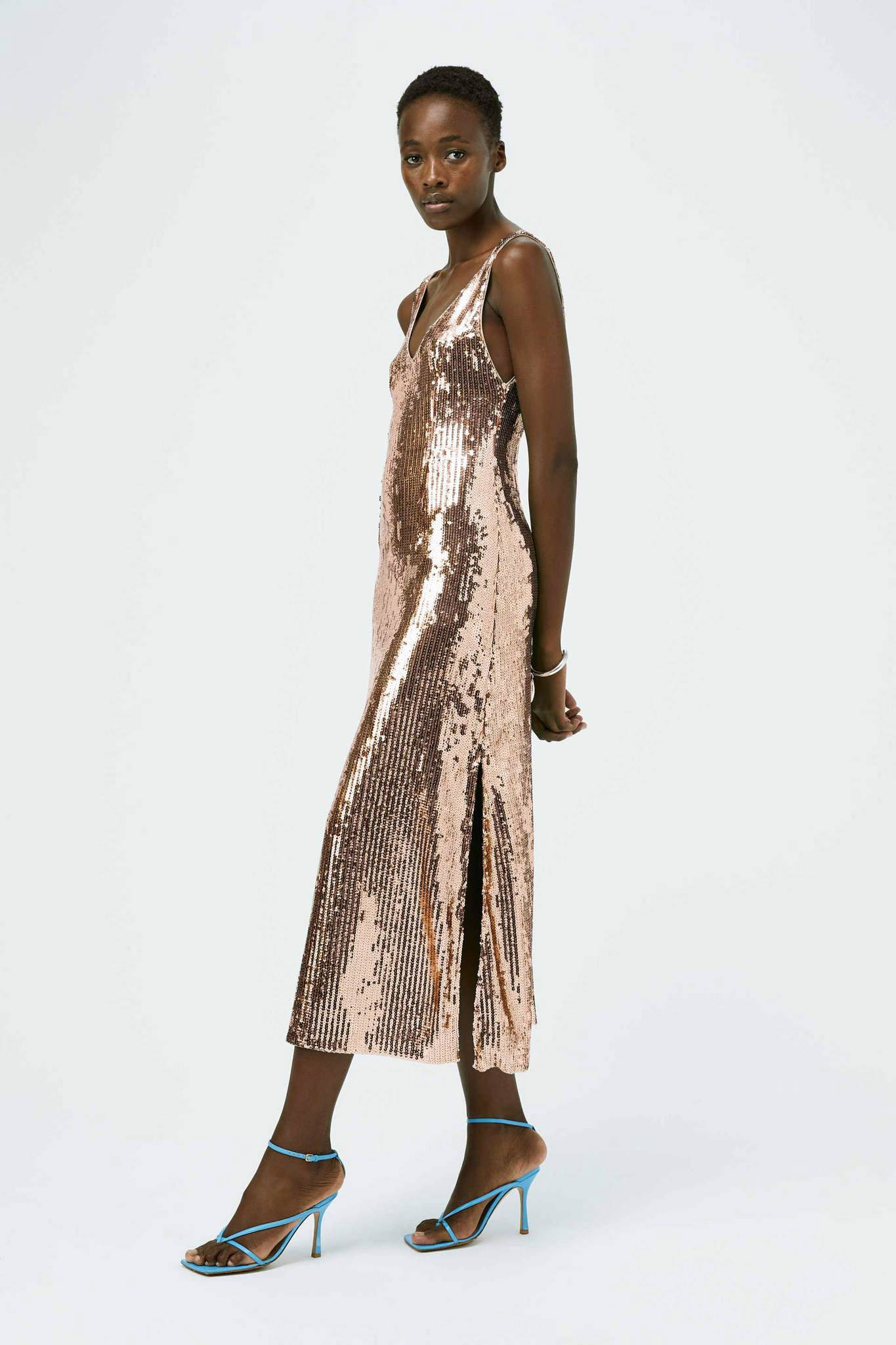 Galvan London Cropped Sequin Slip Pink Dress