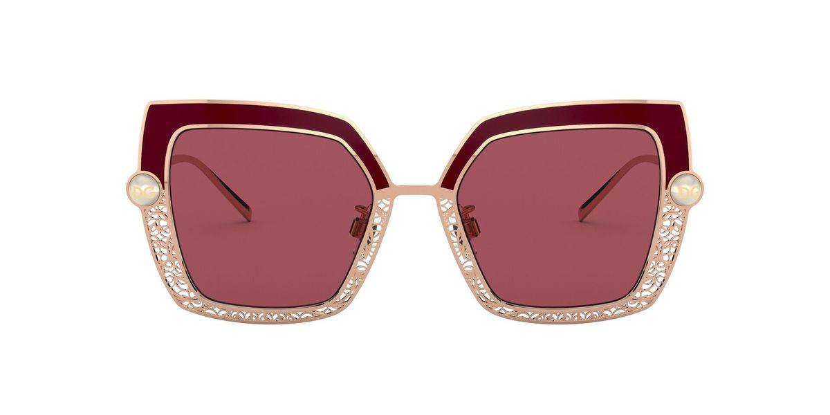 Pink Gold Bordeaux/Dark Violet Butterfly Womens Sunglasses