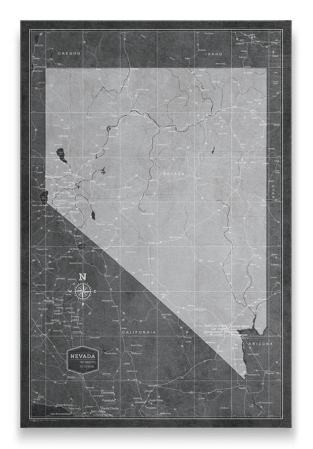 Nevada Push pin travel map modern slate