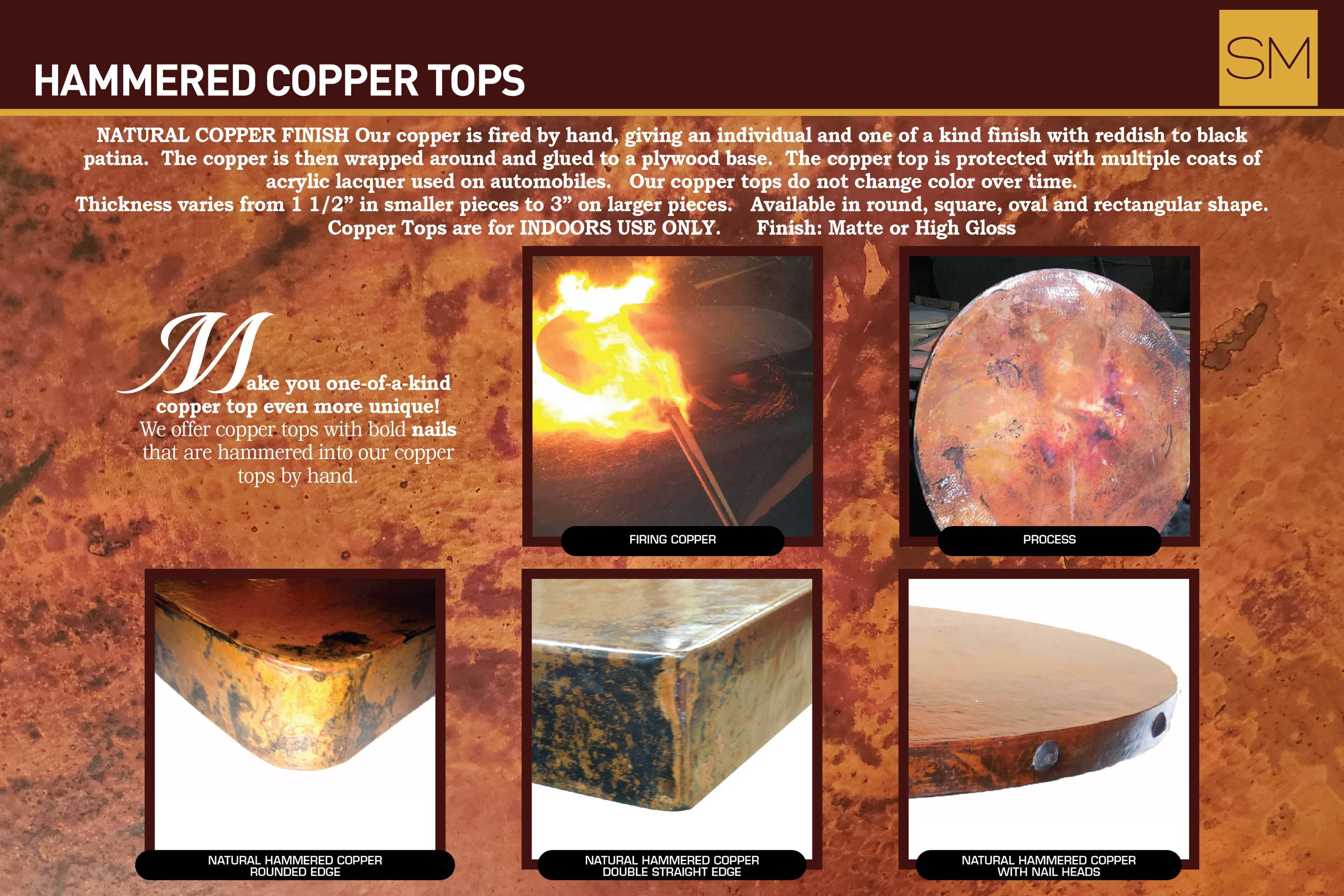 Hand hammered copper top options; natural hammered copper with rounded edge, natural hammered copper double straight edge, natural hammered copper with nail heads