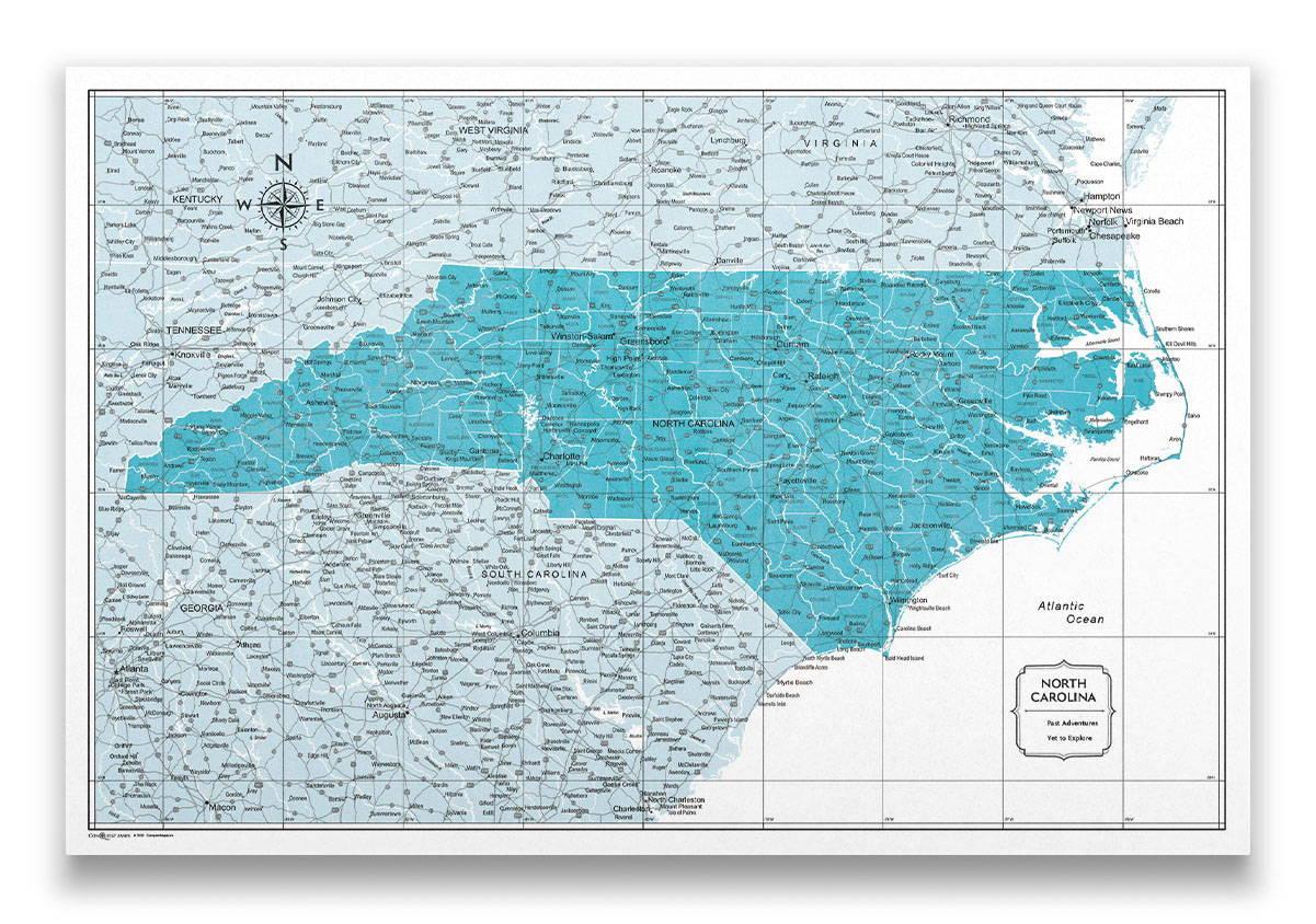 North Carolina Push pin travel map color splash