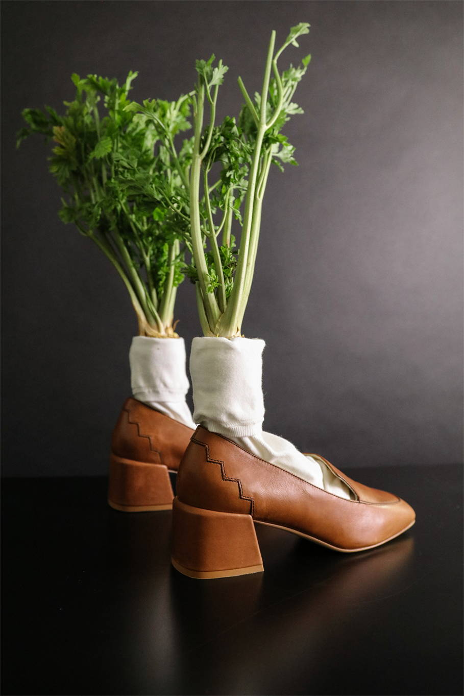 Marlene mid-heel loafer made from vegetable tanned responsible leather styled with parsnips in socks