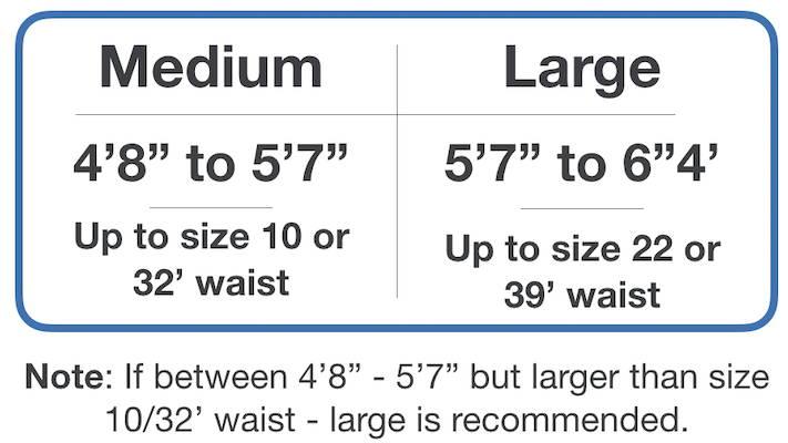 Sizing chart. medium for 4'8