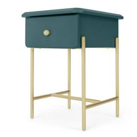 Small teal and brass bedside