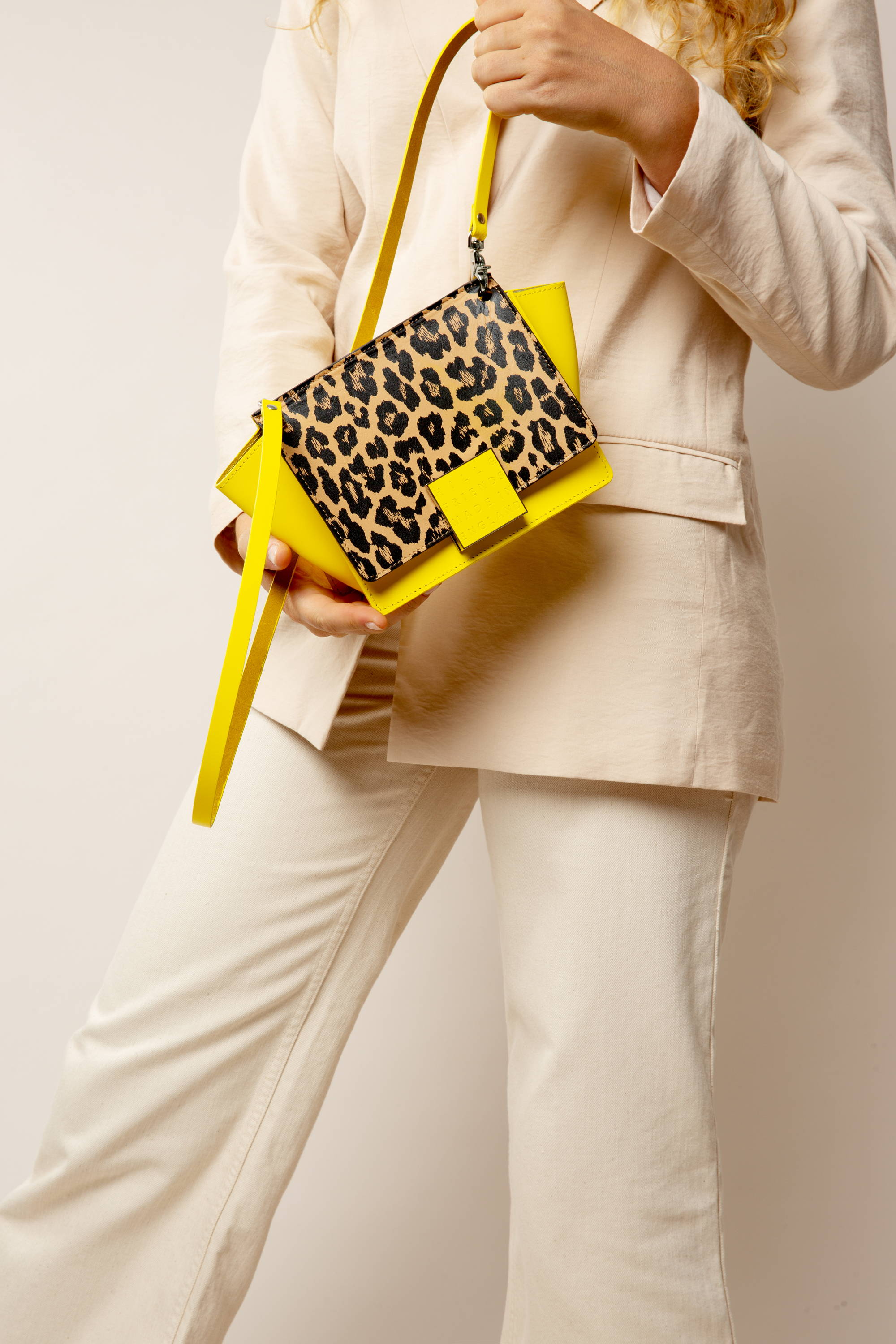 Hill and Friends Riley Bag in Yellow and Leopard Print