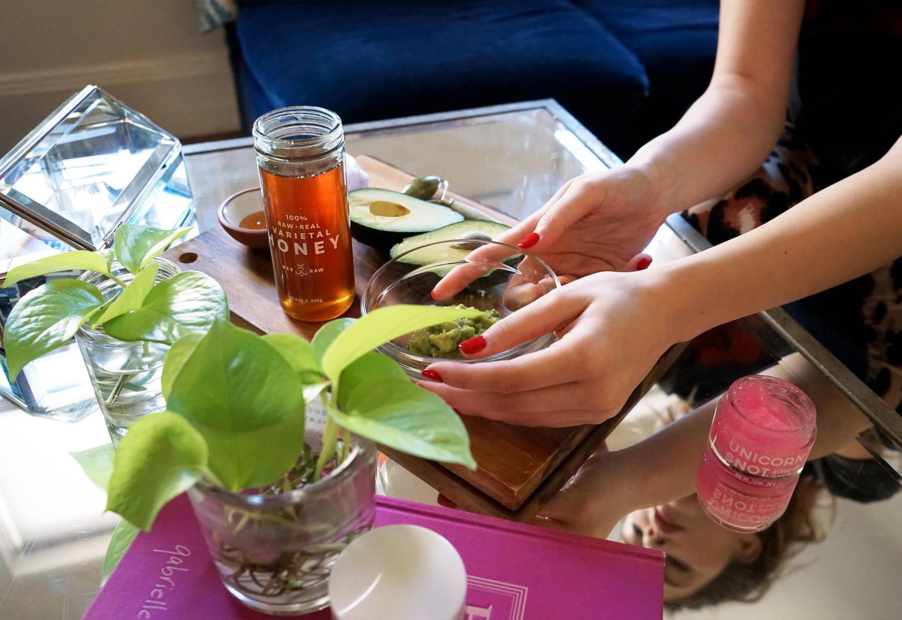 Make an avocado and honey mask before putting on Unicorn Snot glitter gel.