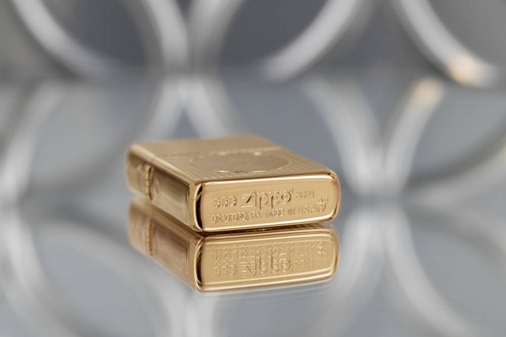 Founder's Day 2021 Gold-Plated Edition Collectible laying flat, showing the exclusive GGB bottom stamp.