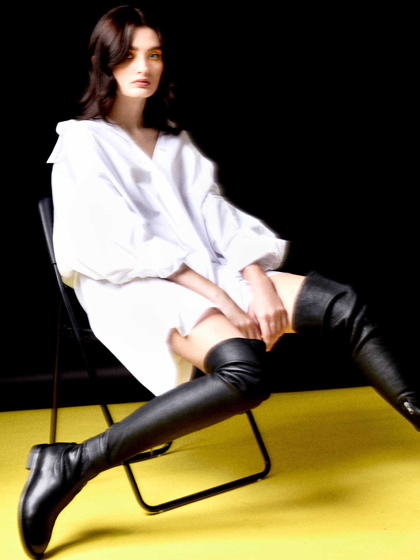 maison margeila shirt, ann demeulemeester thigh highs
