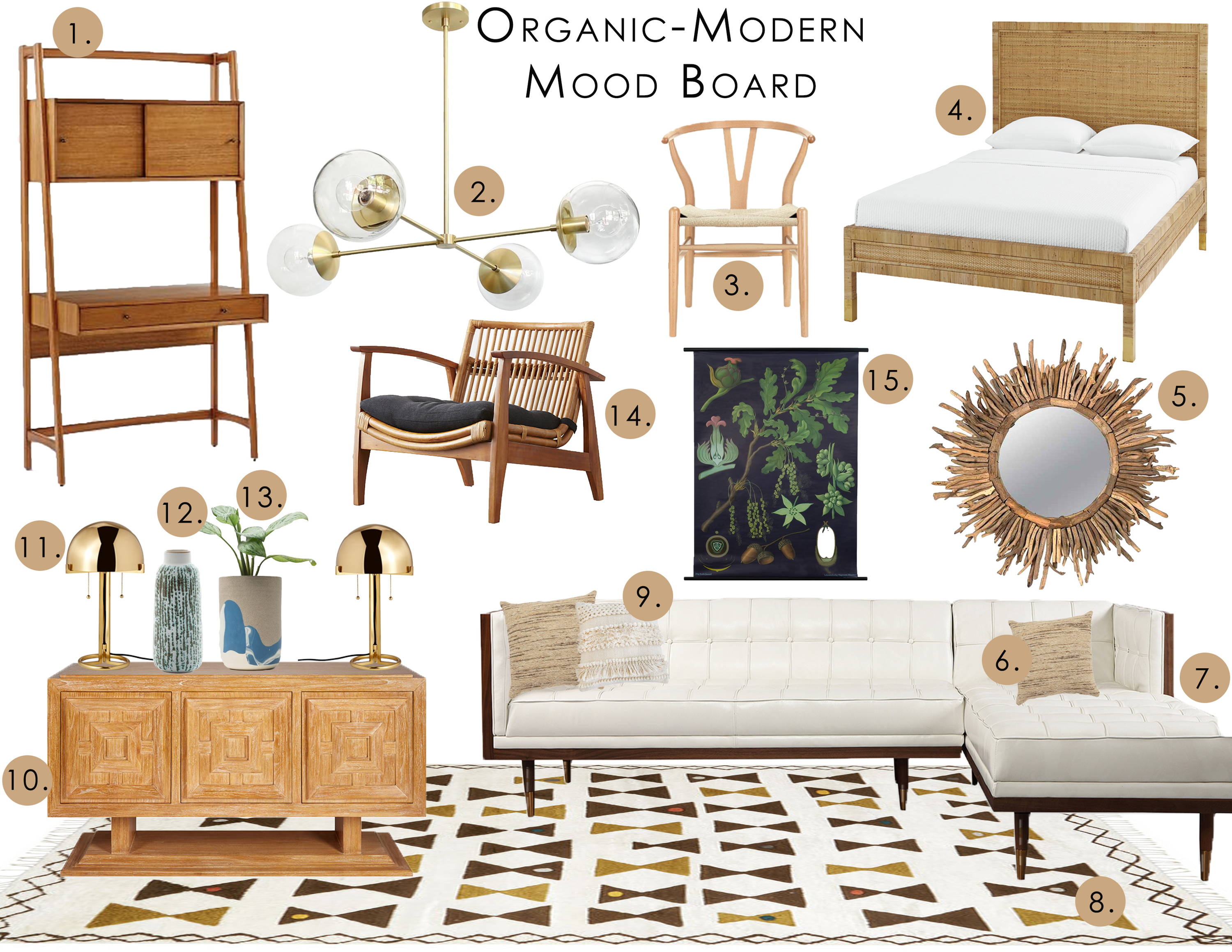 a design mood board in the organic modern style featuring furniture and home decor