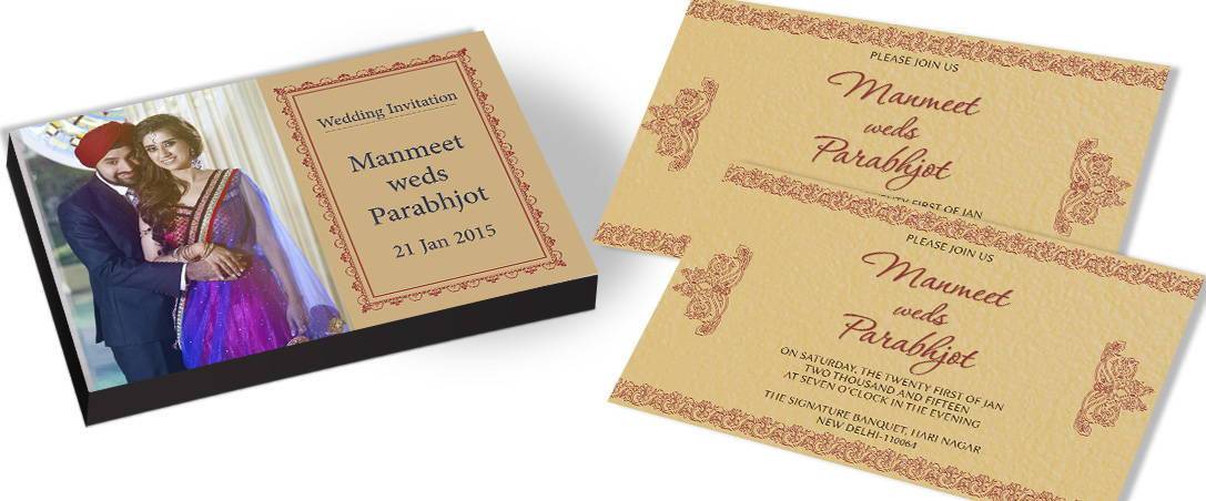 Traditional Marriage Invitation card with picture