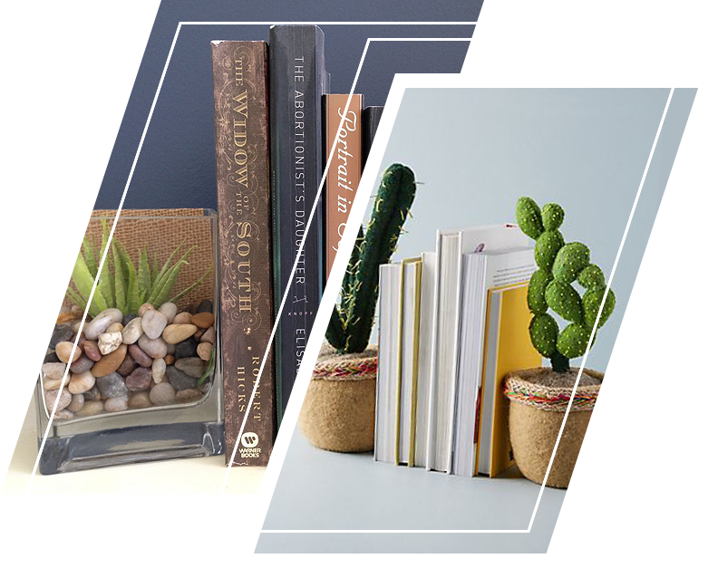 An example of succulent plants as bookends