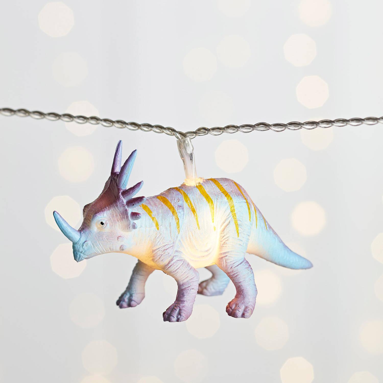 close up of multicoloured dinosaur fairy lights