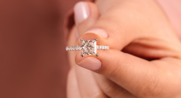 ethical and affordable diamond accented engagement ring