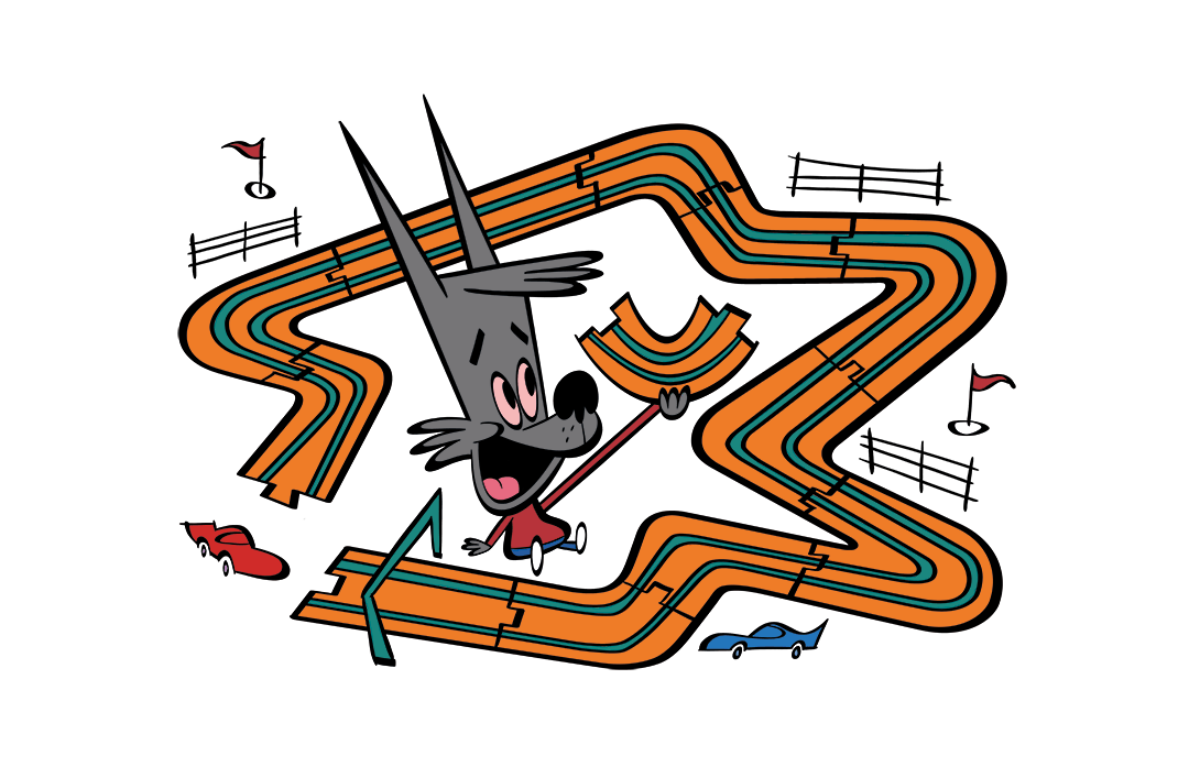 Illustrated character playing with a race track