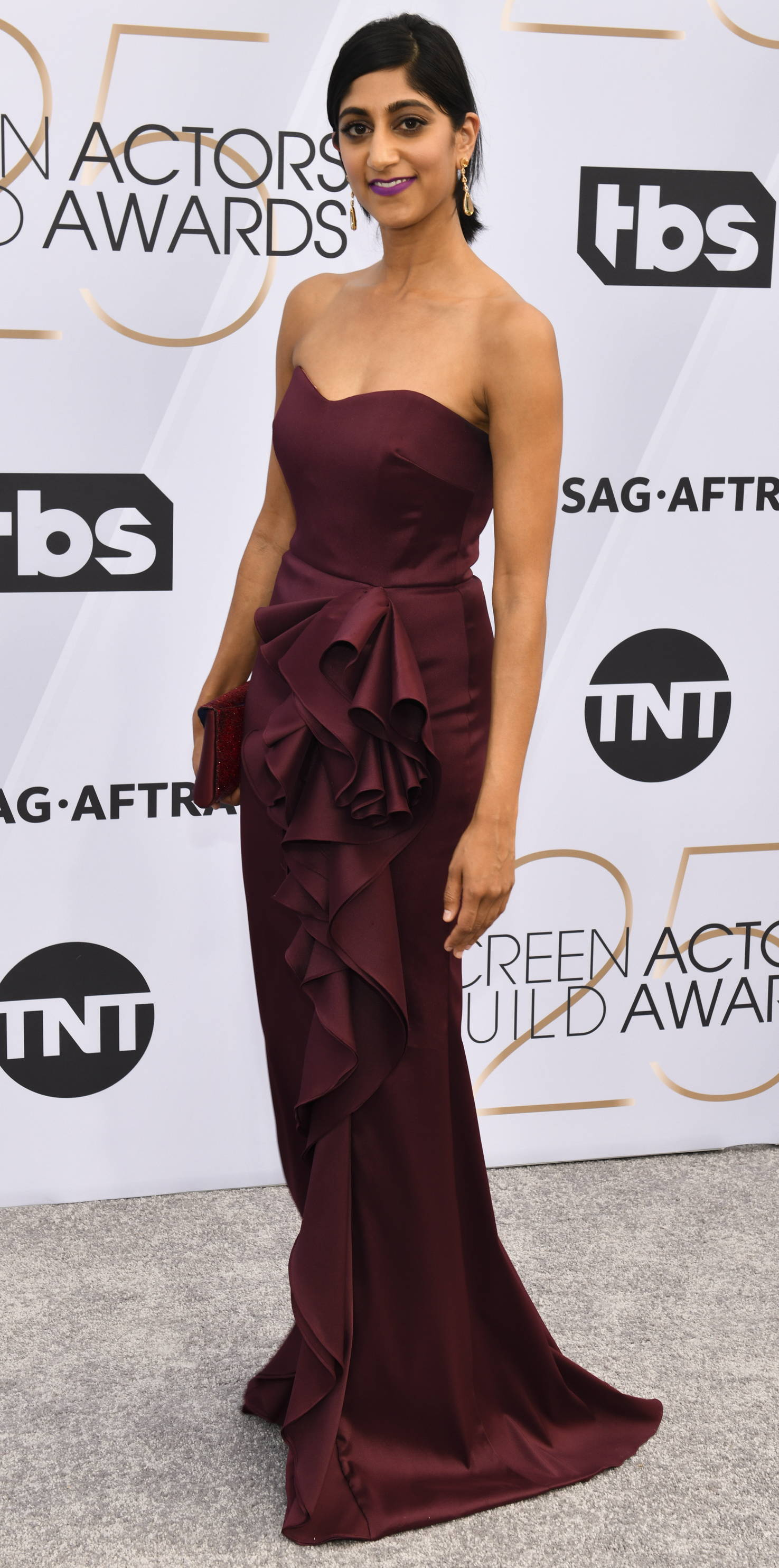 Sunita Mani, member of the SAG-nominated cast of glow looked gorgeous in badgley mischka at the screen actors guild awards.