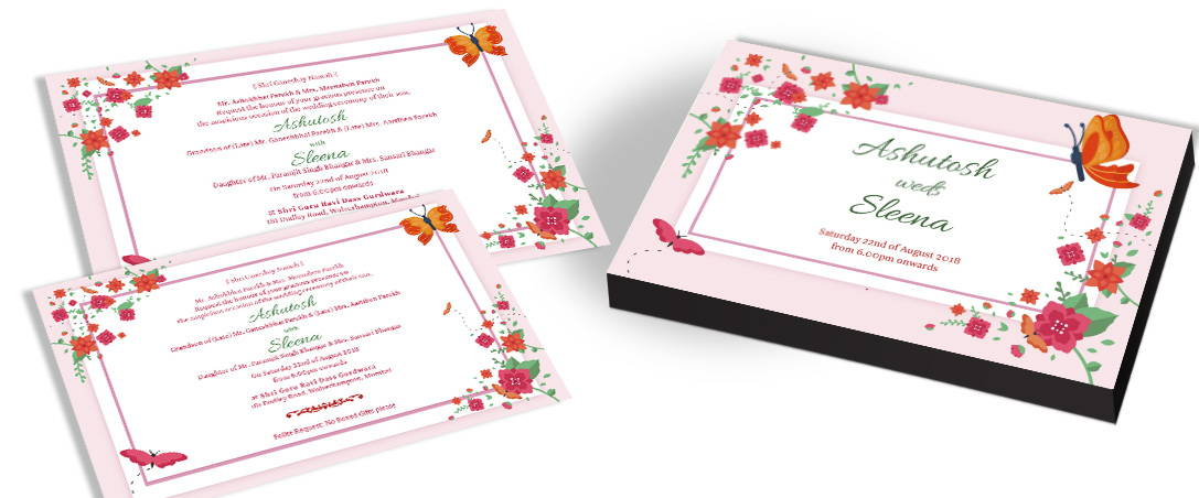 Elegant Butterfly Theme Wedding Invitation Cards